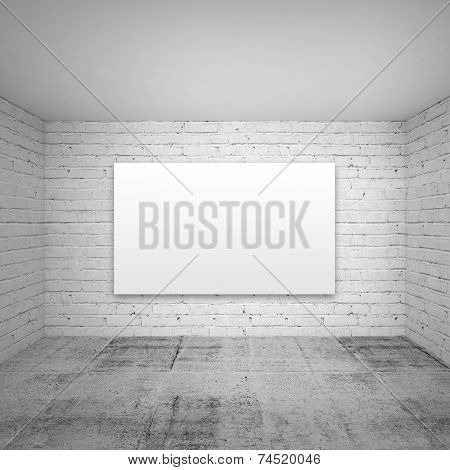 Empty White 3D Room Interior With Brick Walls And Empty Poster