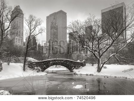 Winter Scene In Manhattan: The Pond, Gapstow Bridge And Manhattan Skyscrapers
