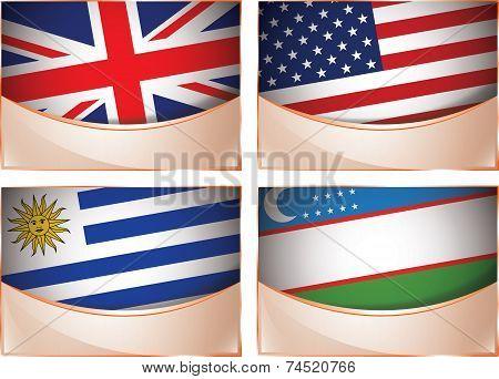 Flags illustration, United Kingdom, United States of America