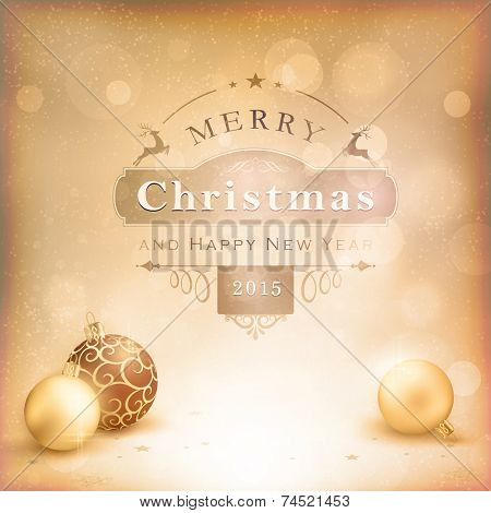 Classic vintage Christmas background with baubles and label. Desaturated shades of golden beige and white with vignetting and light effects give it an aged and retro feeling.