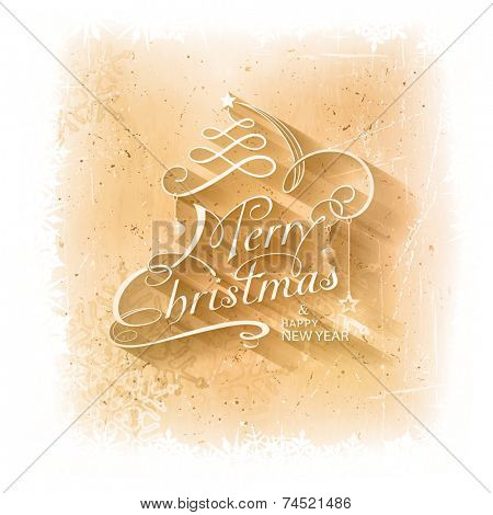 Grungy Christmas card with scratches, stains and snowflakes in the background and calligraphic handwritten typography Christmas lettering embellished with holiday ornaments.
