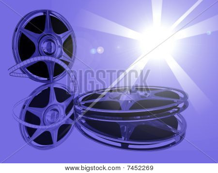 Two film-roll on  mirrow and spot star