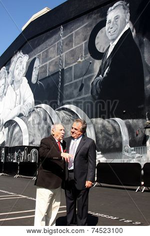 LOS ANGELES - OCT 23:  Mel Brooks, Jim Gianopulos at the Mel Brooks Street Dedication and Young Frankenstein Mural Presentation at the 20th Century Fox Lot on October 23, 2014 in Century City, CA