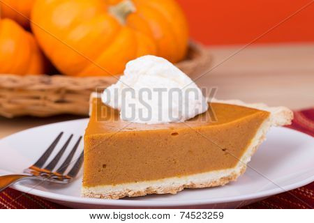 Closeup Of Pumpkin Pie Slice