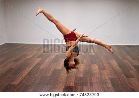 Sports Girl Doing Side Flip