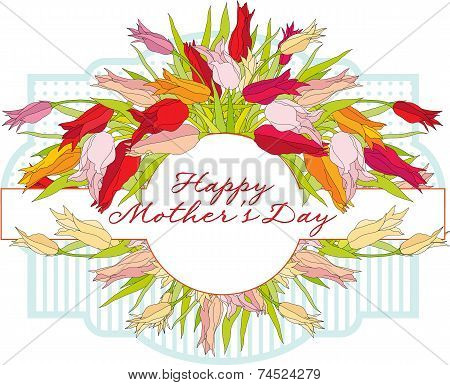 Greeting card with tulips Mother's Day