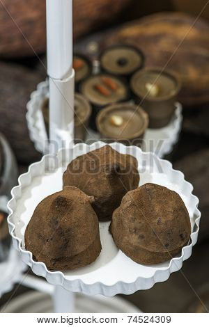 Chocolate Bonbons In Dish