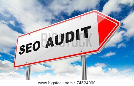 Seo Audit on Red Road Sign.