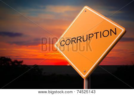 Corruption on Warning Road Sign.