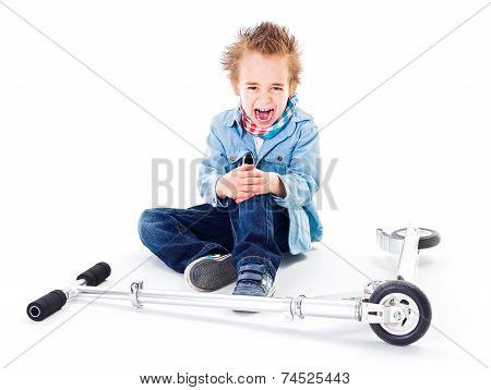Boy With Wounded Leg Near By Scooter