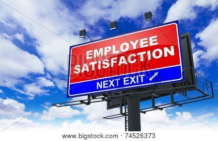 Employee Satisfaction Inscription on Red Billboard.