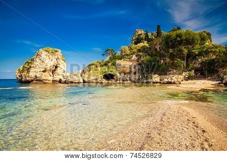 Beach In Front Of The Island Isola Bella