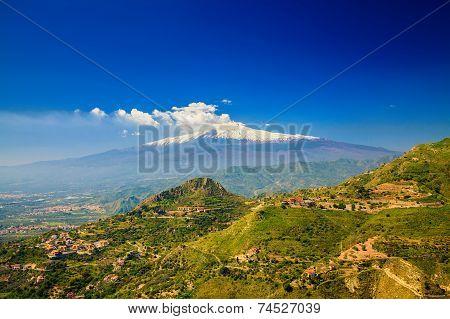 Etna With Snowy Peak