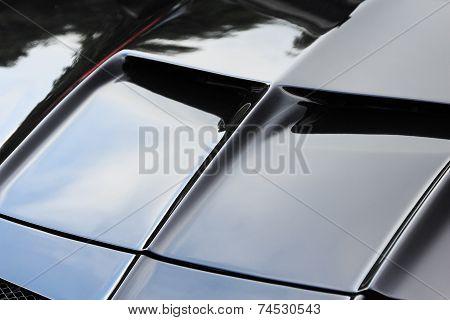 Black Sports Car Hood
