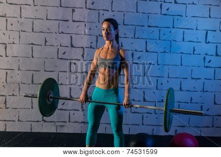 Barbell weight lifting woman workout exercise gym weightlifting