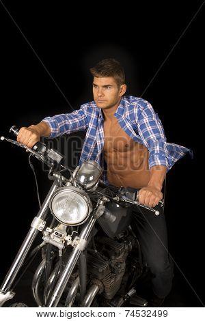 Man Blue Shirt Motorcycle Black Blow