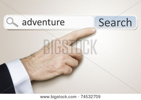 An image of a man who is searching the web after adventure