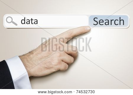 An image of a man who is searching the web after data