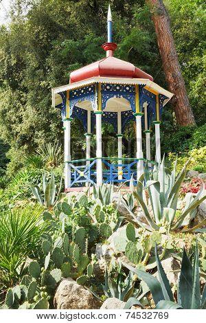 Pavilion And Cactus In Nikitsky Botanical Garden