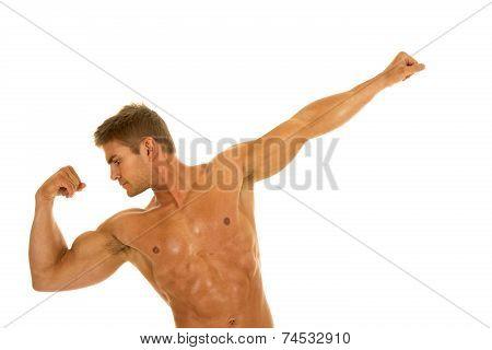 Man No Shirt Flex Arm Out