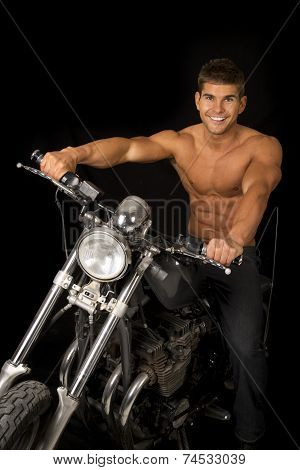 Man No Shirt Motorcycle Black Looking With A Smile