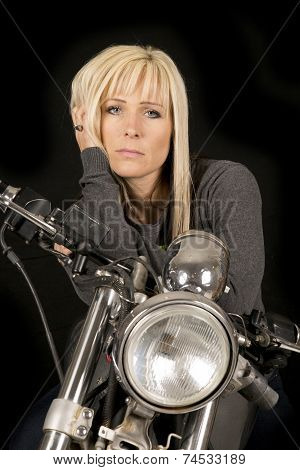 Woman On Motorcycle Hand Hair Serious