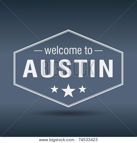 Welcome To Austin Hexagonal White Vintage Label