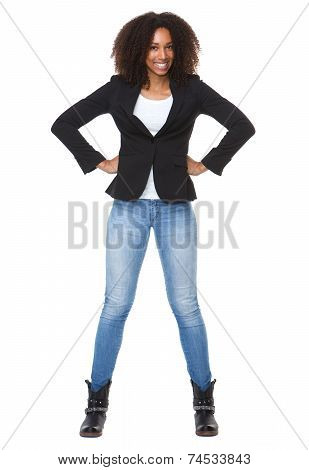 Happy African American Woman With Hands On Hip