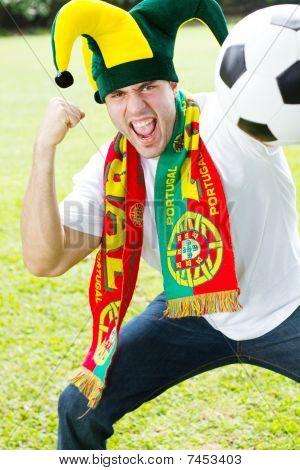 enthusiastic portuguese sports fan