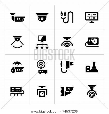 Set Icons Of Video Surveillance
