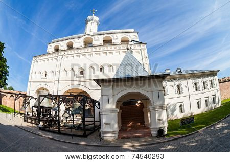 Novgorod, Russia - July 23, 2014: Bell Tower Of St. Sophia Cathedral In Novgorod Kremlin. Veliky Nov