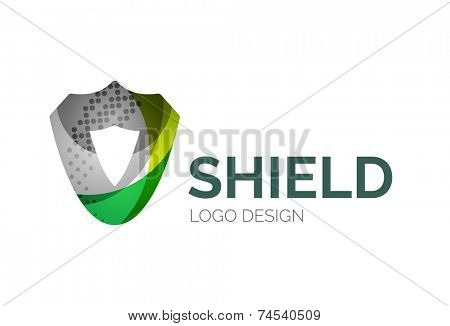 Abstract secure shield logo design made of color pieces - various geometric shapes