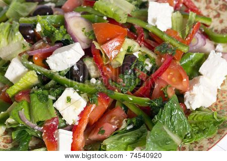 Traditional Turkish salad, tossed with olive oil and herbs