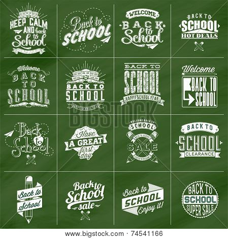 Back to School Calligraphic Designs Label Set On Chalkboard | Retro Style Elements | Vintage Ornamen