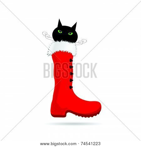 Cat And New Year Boot Color Vector