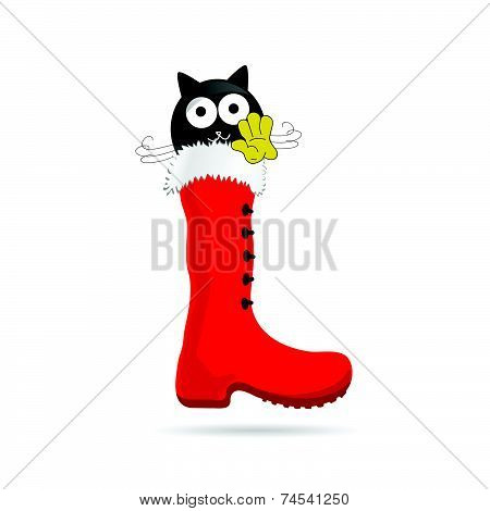 Cat With White Eye And New Year Boot Color Vector