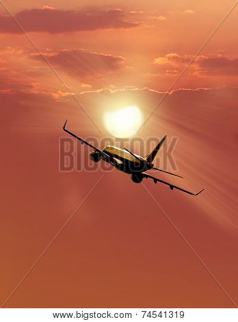 Airplane  At Sunset.