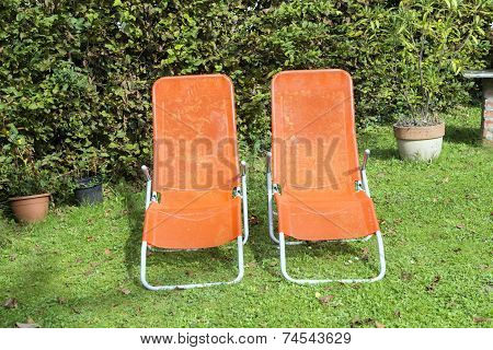 Two Sun Lounger Side By Side In The Garden