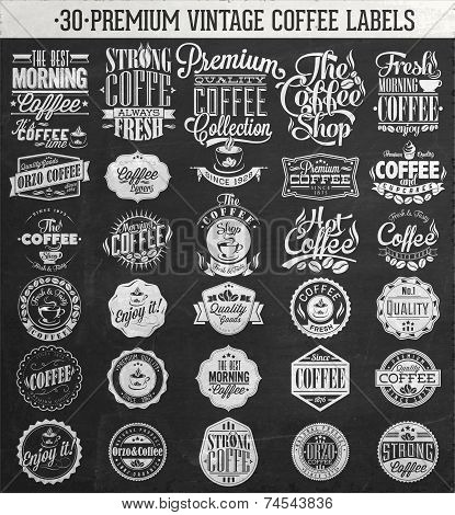 Set Of Vintage Retro Coffee Labels On Chalkboard. Coffee decoration collection | Set of calligraphic