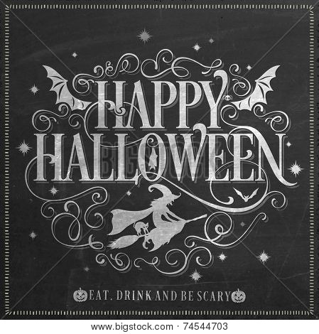Vintage Happy Halloween Background On Chalkboard
