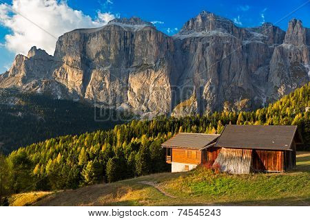 Alpine hut at Passo Pordoi with Sella Group, Dolomites, Italian Alps