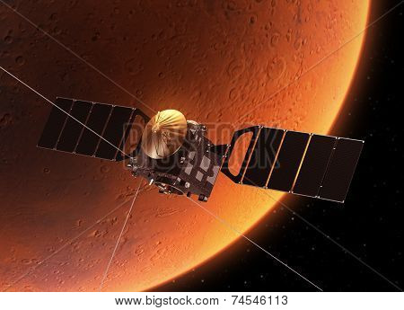 Space Station Orbiting Red Planet