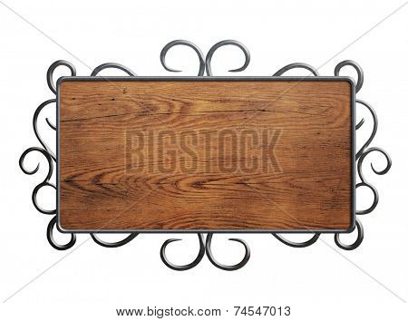 Old wood plate or sign in metal frame isolated on white