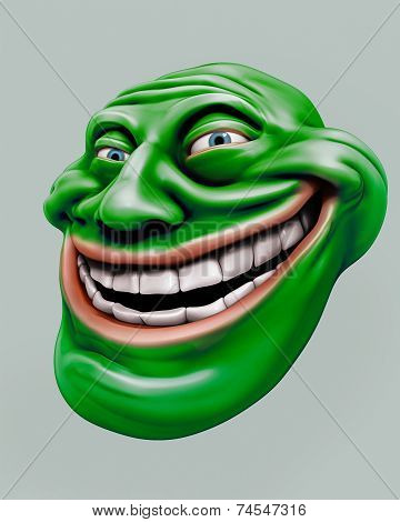 Green Trollface. Internet Troll 3D Illustration