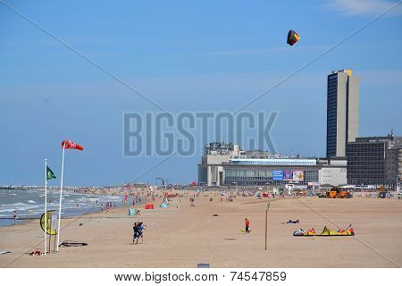 Kiting On A Beach In Oostende, Belgium