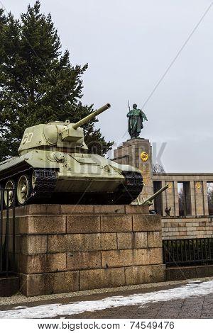 Russian Tank Of The Wwii At The Soviet Memorial In The Tiergarten, Berlin.