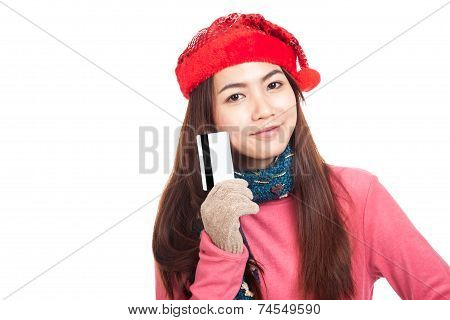 Asian Girl With Red Christmas Hat Smile Show Credit Card