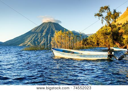 San Pedro Volcano On Lake Atitlan, Guatemalan Highlands