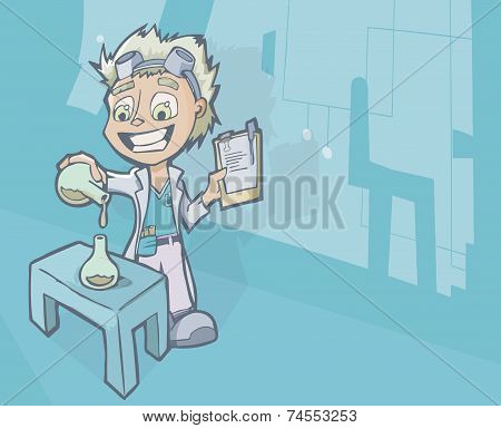 Scientist In Laboratory With Chemistry Experiment
