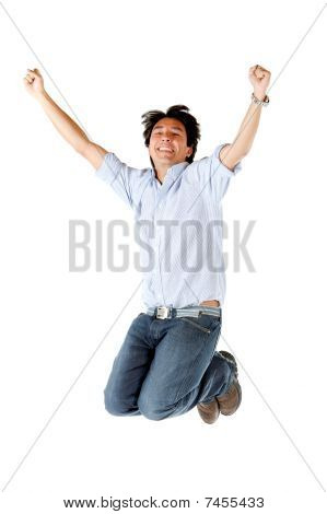 Successful Man Jumping
